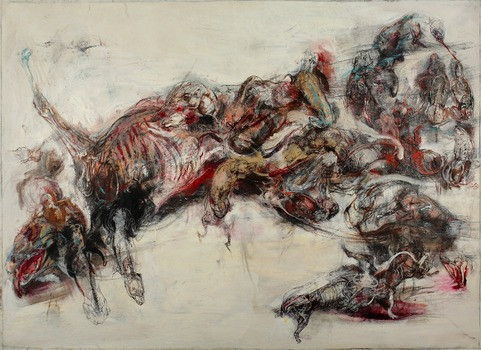 20130827175503-lq_agony_of_actaeon_-_the_pack_2013__oil_graphite_pen_pencil_on_canvas__150x280cm