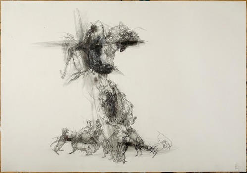 20130827175640-lq_agony_of_actaeon__cross_and_dogs_2013__graphite_pencil_and_pastel_on_paper__70x100cm