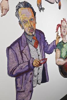 20131102015315-han-ferrara-gallery-pulse-art-fair-los-angeles-daniel-rolnik-2011-gina-phillips-thread-fabric-paint-purple-suit-agician-mustache-red-sunglasses-argot-ochre