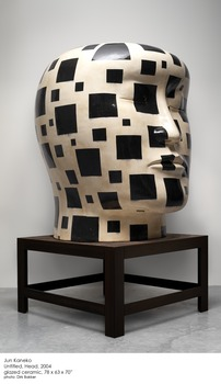 20140121222904-jun_kaneko_-_untitled_head_-_2004_-glazed_ceramic_and_steel_-_78_h_x_63_w_x_70_inches_d__head__32_h_x_56w_x_60_inches_d__table_