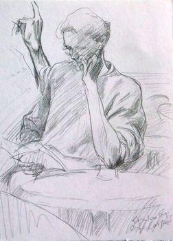 Crayon_jeune_homme_au_cafe_costes