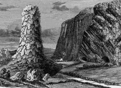 1_ancient_seacliff_eroded_and_pierced_at_its_base_by_sea_worn_caves_fronted_by_a_lava_column_eight_feet_high