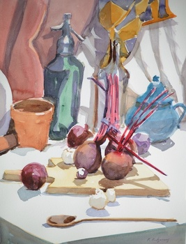 20140614140120-montgomery_margaret_cuttingboardwithbeets_2012_watercolor_16x12inches_allrightsreservedtotheartist