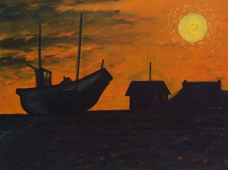 20140810114439-dungeness_sunset__2014__oil_on_panel_40_x_30cm