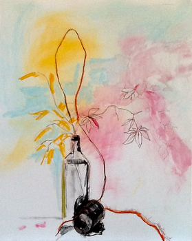 20150310032829-leaves-with-two-bottles-charcoal-and-watercolor-18x24-lesley_koenig
