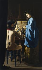Gilou_le_peintre_et_son_mod_le__hommage___vermeer__hst_185x110cm