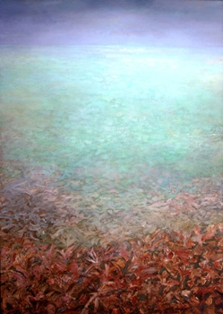 A_seaweed_field__oil__sand__marble_dust_on_canvas__68x48__20