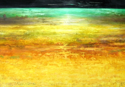 Midsummer_night_field___oil__sand__marble_dust_on_canvas__48