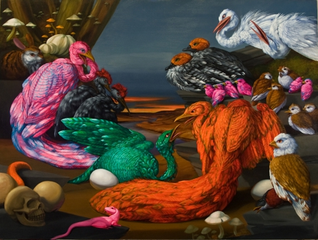 Diorama_with_nine_breeding_pairs__2008__oil_canvas__36x48_med