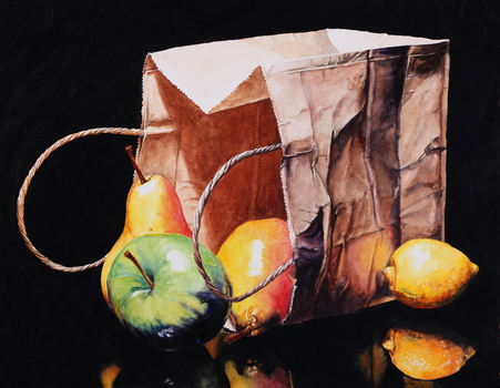 20151009155602-laurin-mccracken_apple-pears-lemon-bag_14-x-18_watercolor-on-soft-press-paper