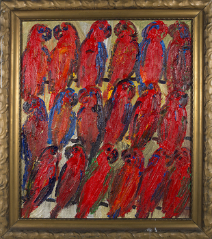 20151030222621-slonem__untitled__red_lories_on_gold___2015__oil_on_wood__34_x_29_in