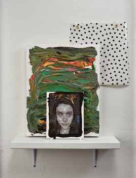 20160327231218-kirstin_lamb_selfie_with_cat_ears_2015_gouache_and_acrylic_on_panel_and_linen_with_upholstery_tacks__oil_cloth_and_shelf__dimensions_variable