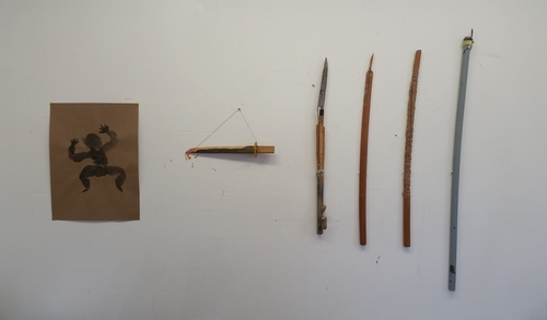 20160610033817-vf5self_portrait_with_weapons__2016__54x83_inches__bokkens__yanagi__wood__string__plastic__rope__bamboo_brush__cardboardtube__paint__ink_on_recycled_paper