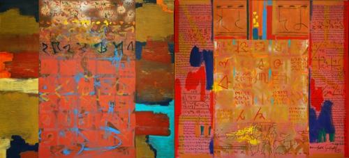 Amitabh_sengupta__inscriptions_10_diptych_acrylic_on_canvas__3x6_ft