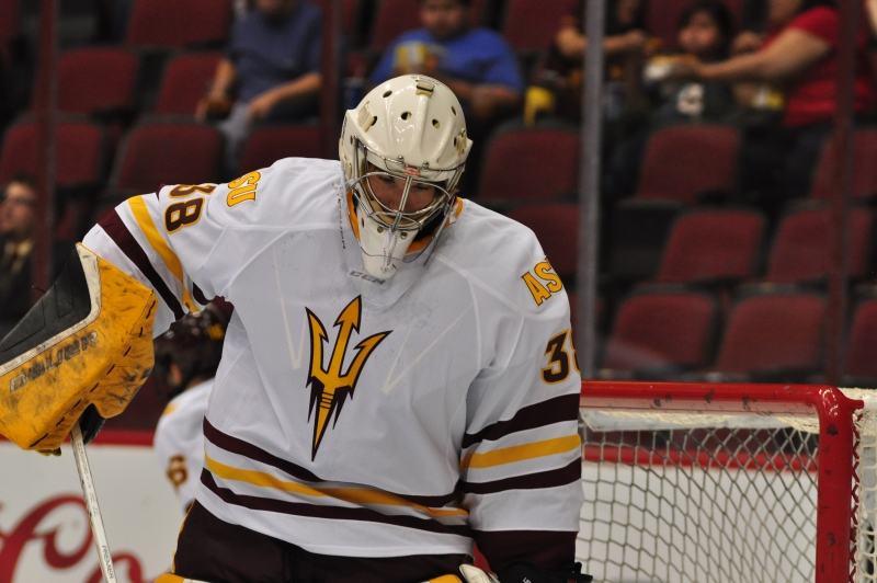 ASU Goalie Robert Levin Warm Up