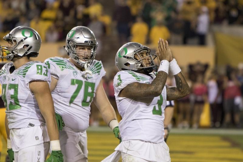 Football Oregon Vernon Adams touchdown reaction