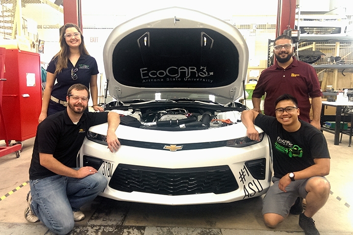 ASU students near goals for energy-efficient Chevy Camaro
