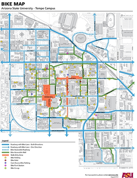 Arizona State University Tempe Campus Map.Tempe Launches Bicycle Box Project To Boost Safety The State Press