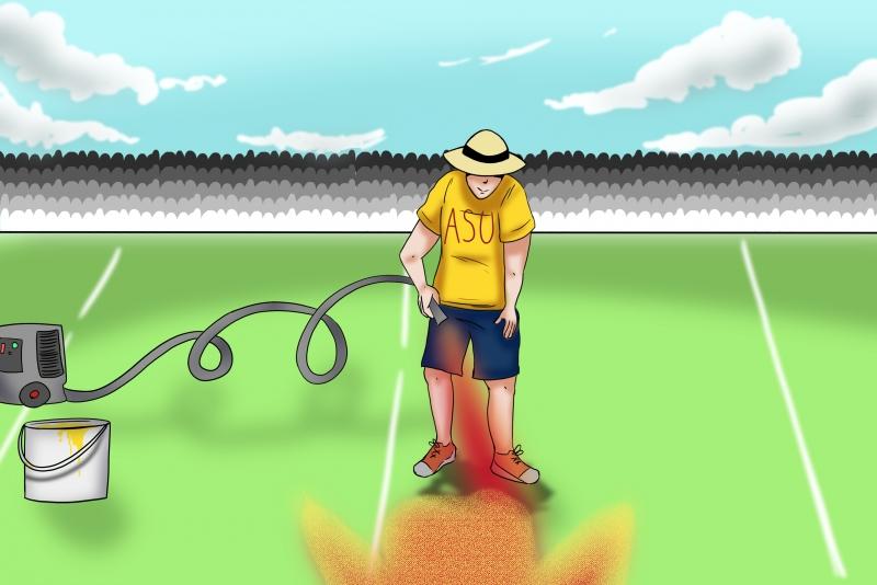 asu super bowl field painter
