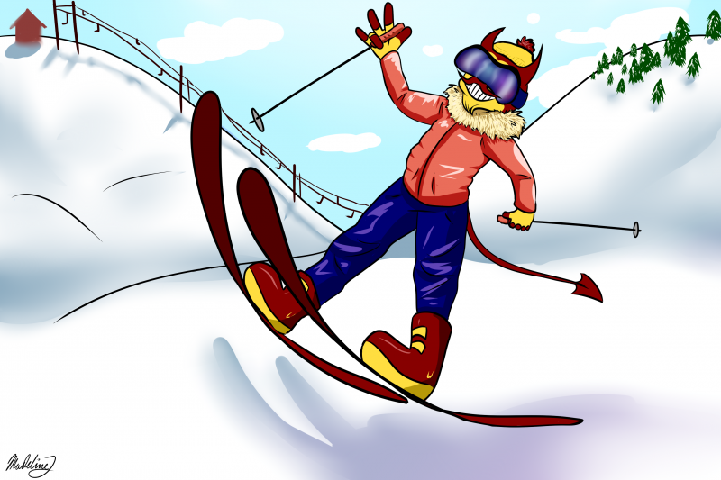 sparky skiing