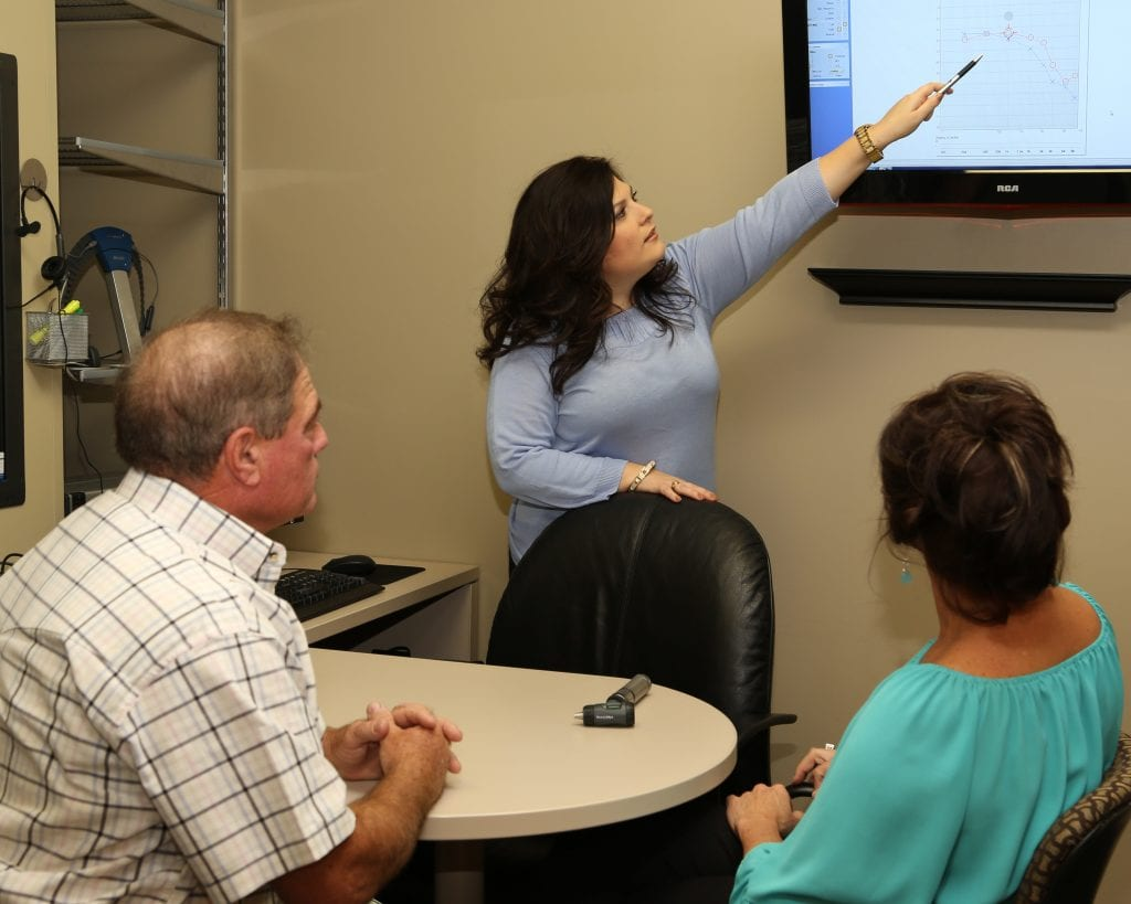 an audiologist showing her patients a video presentation