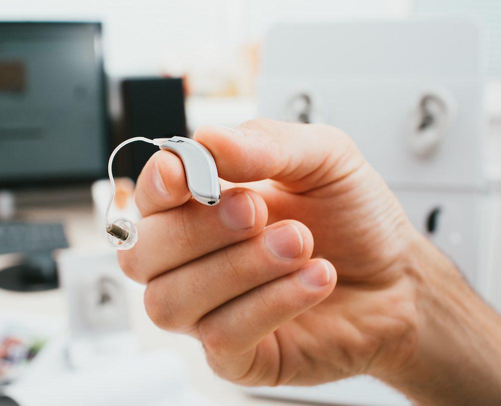 grey hearing aid device