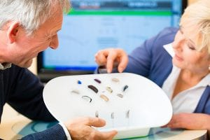 sets of premium hearing aids on display
