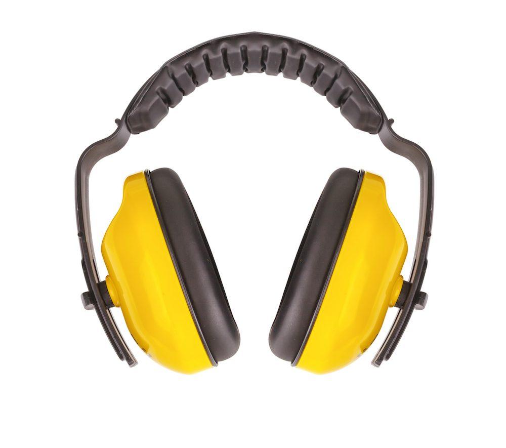yellow and black hearing protectors