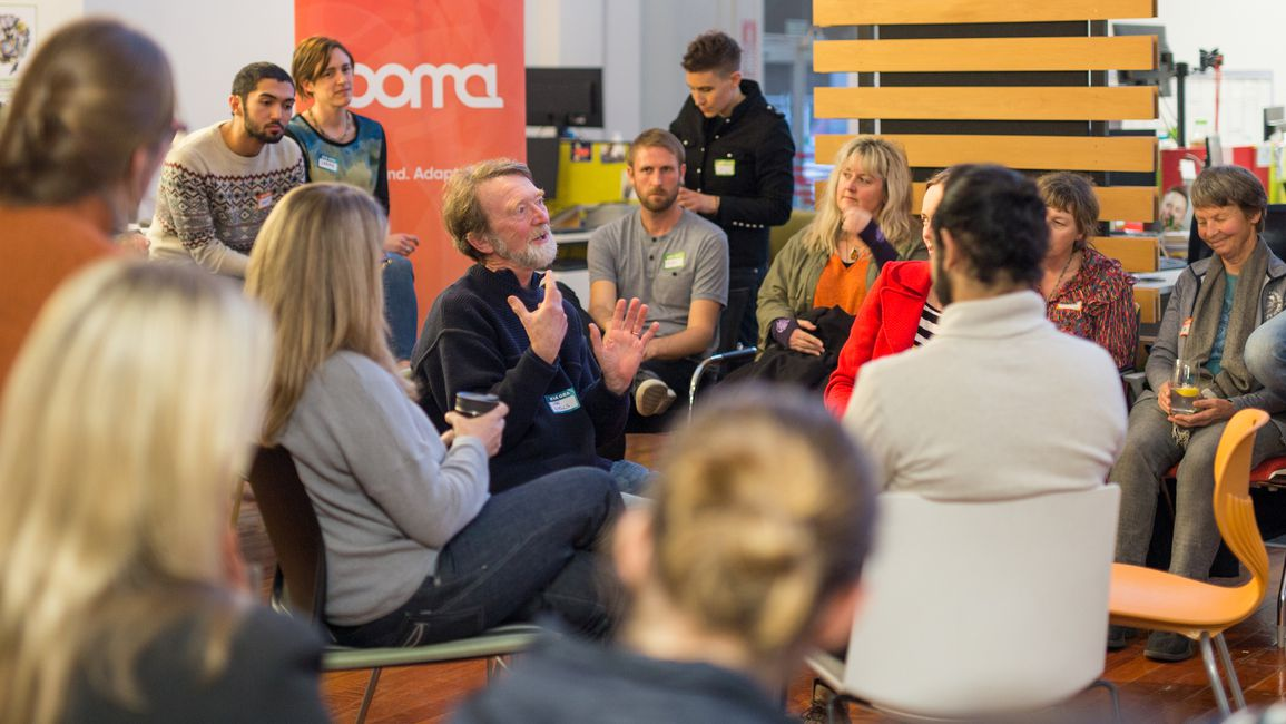 Participants discuss the future of sustainable food at a recent Boma New Zealand Campfire. One chair is always open for a new voice.