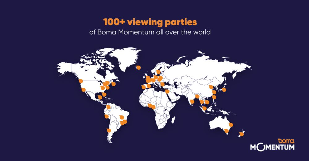 A map of Boma Momentum's global viewing parties