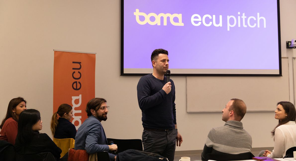 Students describe their projects at the Boma ECU Pitch event on Feb. 5 in Vancouver.