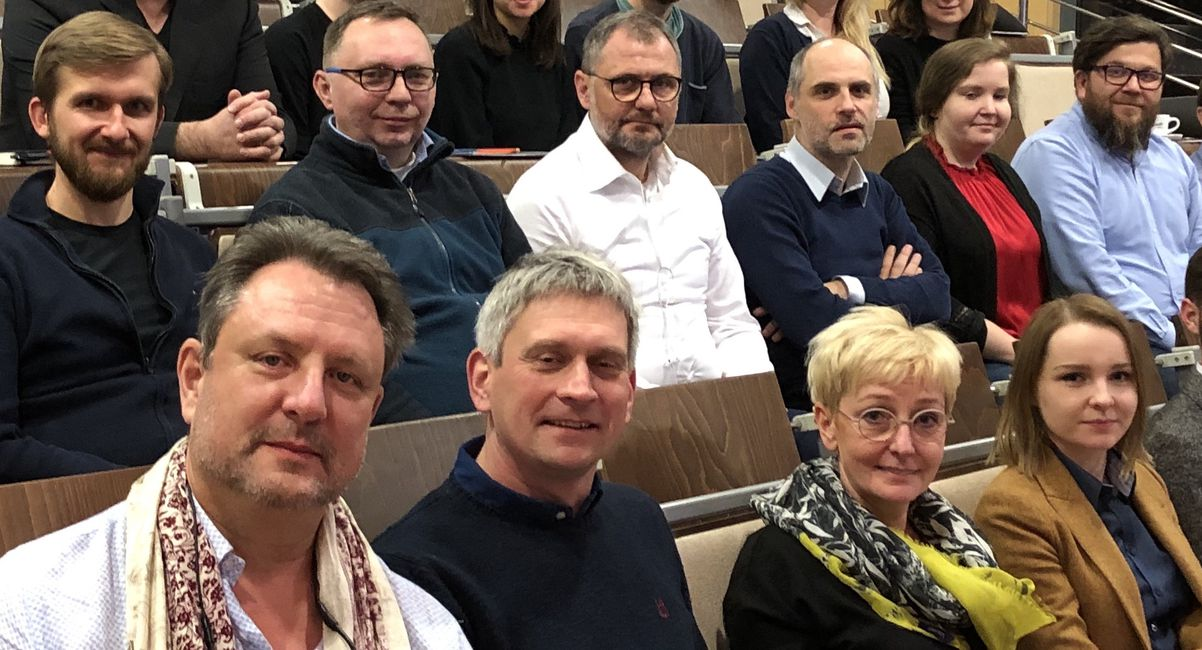Attendees at the Boma Momentum viewing party at the International Faculty of Engineering at the Lodz University for Technology.