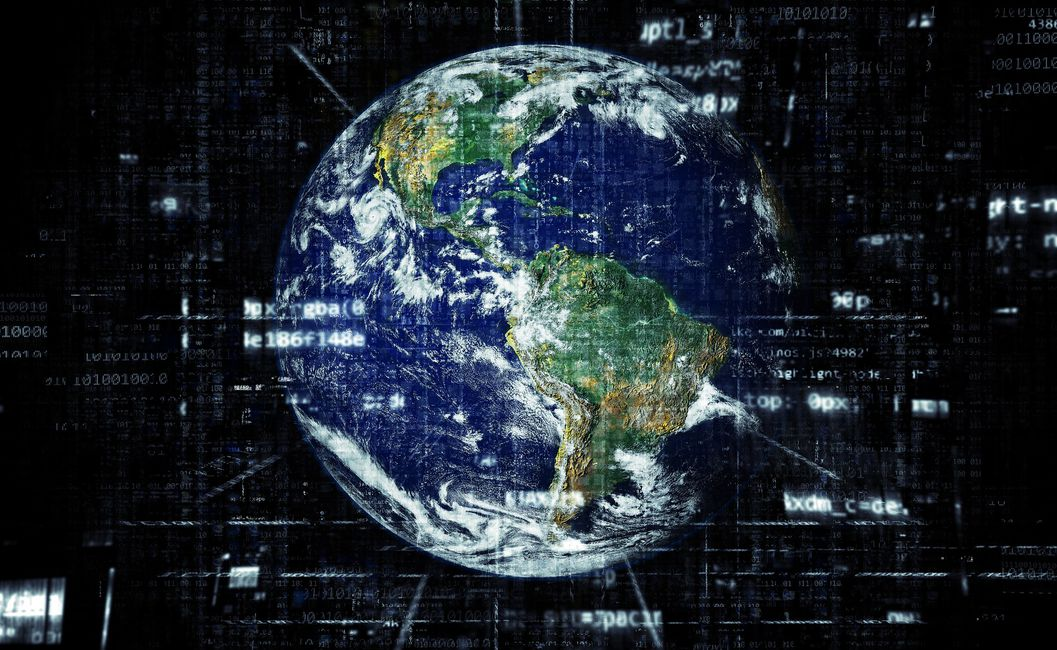 Earth surrounded by computer code.