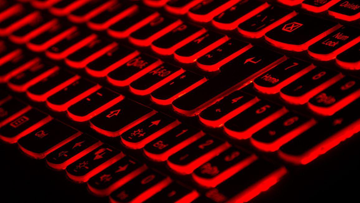 A red LED keyboard.