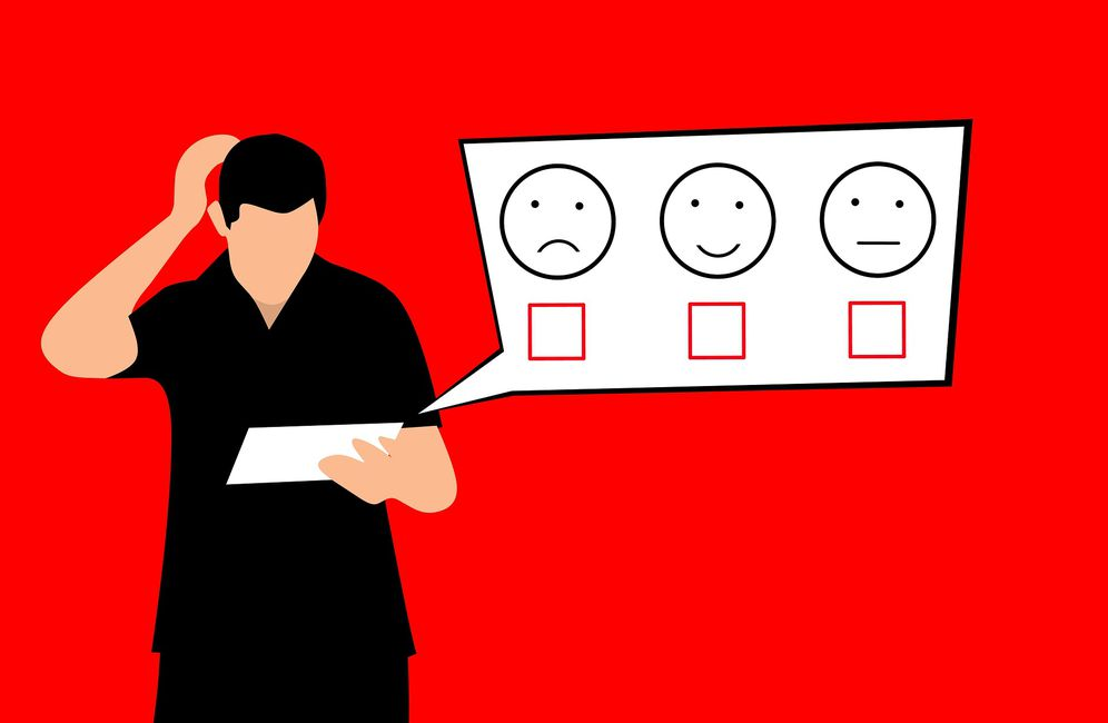 A man holds a feedback survey.