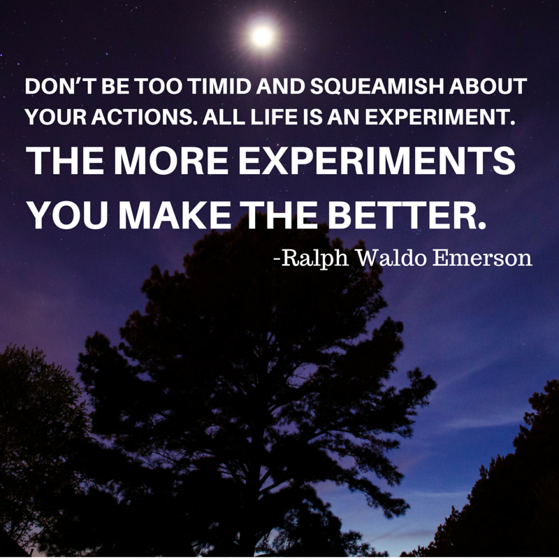 16 dont be too timid and squeamish about your actions all life is an experiment the more experiments you make the better ralph waldo emerson