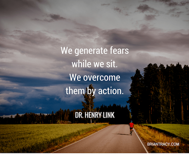 uplifting quote by Dr. Henry Link on image of man biking into a dark forest