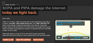 Reddit Protesting Stop Online Piracy Act through SOPA blackout
