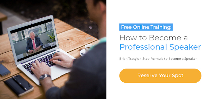 Banner link to Brian' Tracy's Public Speaking Webinar Registration Page