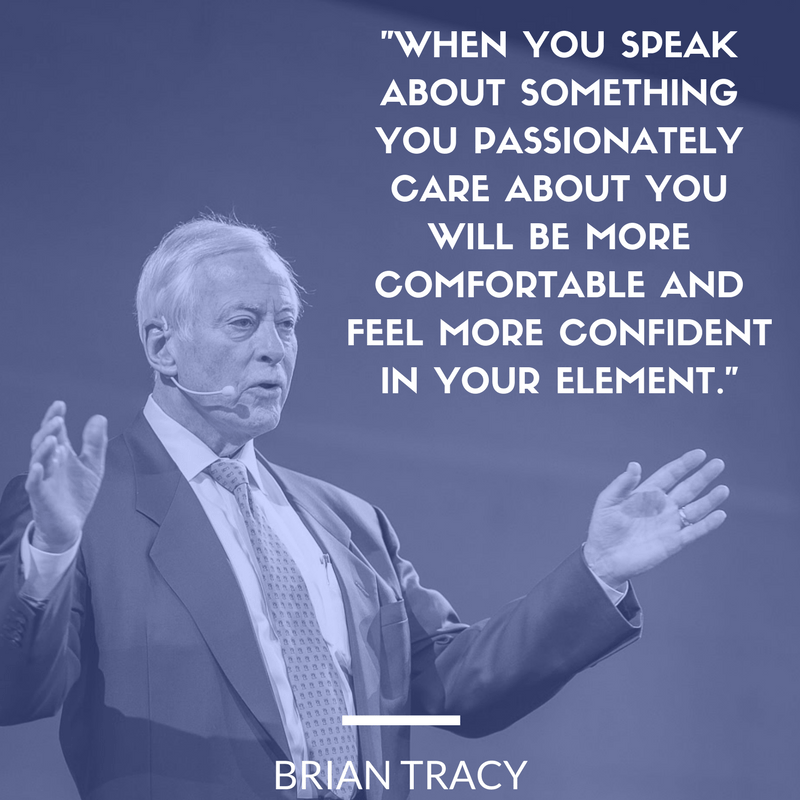 public speaking quote meme with tip from Brian Tracy