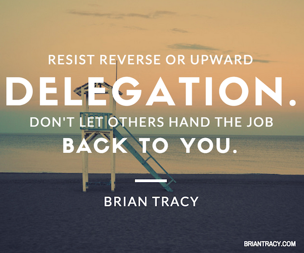 time management tip about delegation by Brian Tracy, laid over a lifeguard tower on beach
