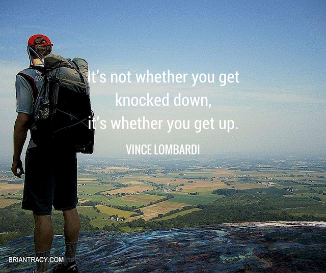 inspirational quote by vince lombardi on image of man on mountainside
