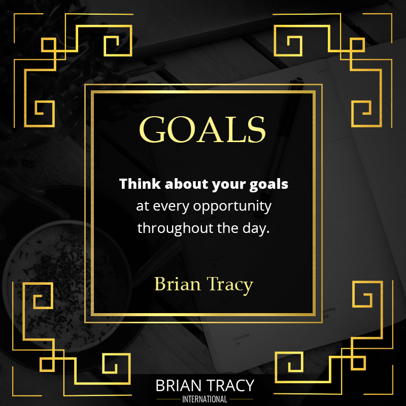 SMART goals quote by Brian Tracy on image of a goal setting template