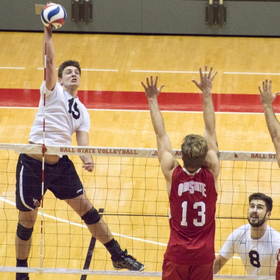 Ball State men's volleyball wins 3-1 on Senior Night