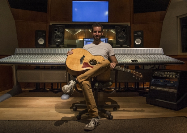 Musician Mike Mentz records on campus, works with sound engineering student