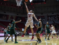 Ball State forward Moriah Monaco shoots a layup during the game against Eastern Michigan on Jan. 18 in Worthen Arena. Monaco scored 16 points in the game, had two blocks and two steals and was 4-5 from 3-point range. Grace Ramey // DN