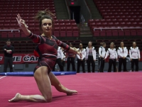 Junior Clare Collins performs her floor routine at the meet against Northern Illinois University on Jan. 15 at Worthen Arena. The women's gymnastics team will travel to Raleigh, N.C. Jan. 20to take on the#25 ranked Wolfpackand the William & Mary Tribe in a tri-meet.Emma Rogers // DN File