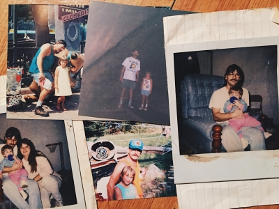 After a few hours of looking through dusty shoe boxes, I found this small collection of photos of my father and me during my childhood.