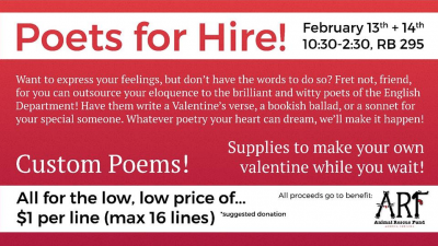 The annual Poets for Hire event will take place in front of the Writing Center in Robert Bell from 10:30 a.m. to 2:30 p.m. Feb. 13 and 14. All donations from the event will go to the Muncie Animal Rescue Fund, a nonprofit organization that provides shelter and care for homeless animals until they are adopted. @wc_bsu // Photo Courtesy
