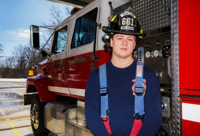 Senior criminal justice major Matthew Pinter volunteers as a firefighter and emergency medical technician at the Yorktown Fire Department. Pinter has volunteered at the station for two and half years and is working toward becoming a career firefighter. Stephanie Amador // DN